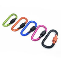 5* Heavy Duty Metal Screw Lock Carabiner Hook Snap Clip D-Ring Outdoor Camping