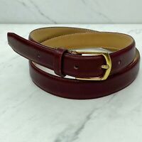 Loft & Brownstone Red Leather Vintage Brass Buckle Belt Size 36 Mens