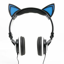 Black Cat Children's Headphones (with Blue LED Ears) For Archos Arnova Pad Range