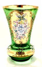 VINTAGE BOHEMIANCZECH CRYSTAL FLOWER VASE GOLD GREE GILDED FLORAL HAND MADE .