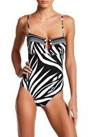 La Blanca Swimwear Sevilla One-Piece Swimsuit LB7AT20 Black / White Size 10