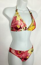NEW SHAN Floral Halter Ruffle Bikini 2 Piece Swimsuit 8/6 Reatil $238