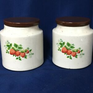 Vintage East Texas Pottery Canisters w/Lids-Set of 2, Strawberry Pattern - 11372