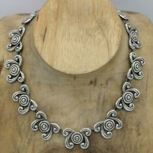 """Pre-1948 Mexico Sterling Max Art Deco Repousse Link Necklace 48 grams 16"""" TAXCO"""