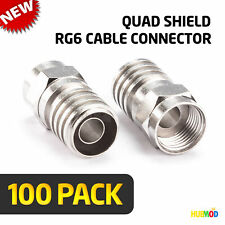 Lot of 100 GE Quad Shield Crimping F-Type HEX RG6 Coax Coaxial Cable Connectors