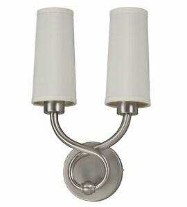 Hudson 2 Light LED Satin Nickel Wall Sconce With Hardback Linen Shades $360