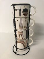 stacking mugs with stand white Signature Housewares Paris Eiffel Tower cup coffe