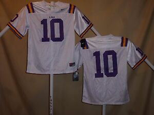 LSU TIGERS    Nike  #10  FOOTBALL JERSEY   Youth Large   NwT  $44 retail    wht