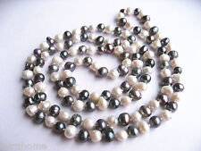 """White Black Multicolour Real Cultured Freshwater Pearl 120cm 47"""" Long Necklace"""