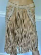 Salvatore Ferragamo Reindeer Leather Fringe Couture Dress Skirt US 4 6 / IT 42
