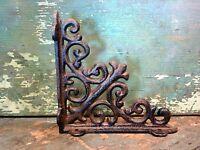 Cast Iron Set/2 Small Ornate Bracket Brace Home Wall Shelf Table Garden Decor