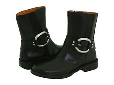 Fossil Audrey Black Leather Low Mid Calf Ankle Fashion Biker Harness Boots 5.5 M