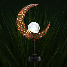 Solar Powered Half Moon Crescent LED Stake Light White Garden Lawn Outdoor Lamp