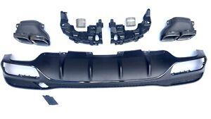 Diffusor für Mercedes-Benz GLE W166 mit AMG Paket GLE 63 Auspuffblenden Schwarz