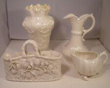 $ Pieces Of Irish Belleek 2 Jugs, Vase And Basket Vase