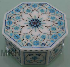 Trinket Vintage Marble Inlay Jewellery Box Stone Lid Mosaic Scagliola Art Decor