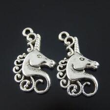 10pcs Atq Silver Pretty Unicorn Horse Pendant Charm Jewelry Crafts 22x15mm