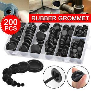 200 Pcs Auto Rubber Grommet Assortment Set Fastener Kit Blanking 7 Popular Sizes