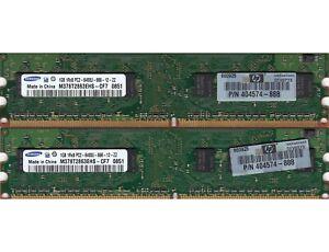 2GB 2x1GB PC2-6400 DDR2-800 SAMSUNG M378T2863EHS-CF7 MEMORY KIT HP 404574-888
