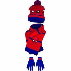 Boys Spiderman Hat Gloves Scarf Set Kids Spiderman Winter Hat Set 3-6 Years