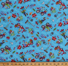 Road Trip Funny Ladies Traveling Mopeds Blue Cotton Fabric Print BTY D476.22
