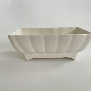 Vintage McCoy Pottery Ivory White Rectangular Planter_Scalloped Pattern_USA