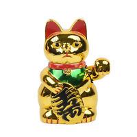 Gold Maneki Neko Cute Lucky Welcome Cat Waving Paw Electric Art Shop Hotel Decor