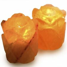 Fantasia: Pack of 2 Date Shape Himalayan Salt Crystal Tealight Candle Holder