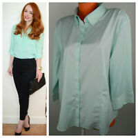 Talbots Button Down Shirt Top Oxford Blouse 22W 3X Mint Green Career Casual    p