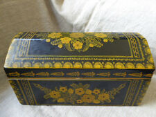 """Large 10 3/4"""" Mexican Olinala Box Hand Painted Wood Domed Black Yellow Flowers"""