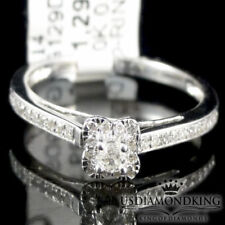 Genuine Diamond 10k White Solid Gold Ladies Engagement Anniversary Promise Ring