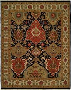 SOUTHWESTERN Wool kilim area rug 8' X 10' Handmade Red and black NAVAJO/oriental