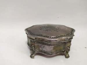 Antique Silver Plated Trinket Jewelry Box Engraved Pense Honi Dieu Et Mondroit
