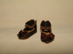 "leather shoes Bebe Jumeau style for antique doll size 0 (1 3/8"")"