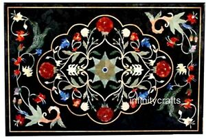 18 x 30 Inches Marble Coffee Table Top Mosaic Art Bed Side Table for Room Decor