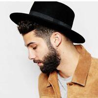 Wool Pork Pie Boater Flat Top Hats For Women And Men Wide Brim Fedora Gambler