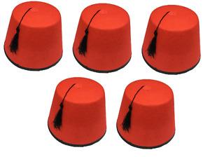 5 x Adult Red Fez Hat Tommy Cooper Turkish Tarboosh Fancy Dress Up Costume QR19
