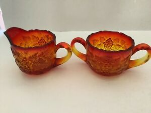 Vintage Amberina Glass Cream And Sugar Set Grapes/grape Leaves Lovely!