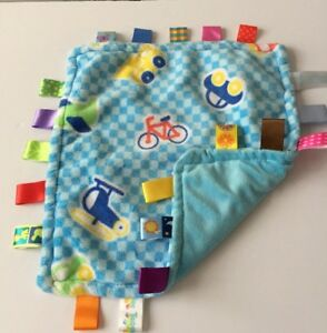 "Taggies Baby Security Blanket Blue Fleece Car Boat Satin Tags 11"" X 11""Lovey"