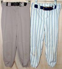 Sa Augusta Softball Baseball Pant Belt Stretch Blue Striped White & Gray Sz Y M