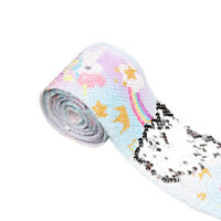 2 Yards 75mm Solid Sequin Colorful Unicorn Rainbow Printed Ribbon DIY Material
