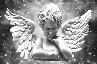 STUNNING SILVER ANGEL CHERUB CANVAS #9 ROMANTIC WALL ART A1 A3 CANVAS PICTURES