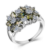 Women 925 Silver Jewelry Peridot & White Sapphire Wedding Ring Size 6-10