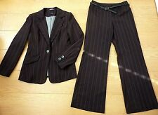 Next Ladies Brown Stripe Blazer & Matching Trousers Suit Size UK 10 & Trouser 8