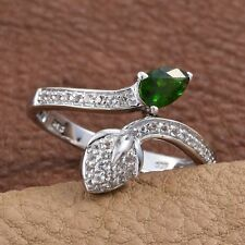 Russian Diopside, White Topaz Platinum Over Sterling Silver Ring (Size 9.0) TGW