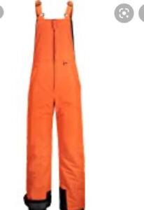 Gemyse Men's Insulated Waterproof Ski Bib Winter Snowboarding Pant Orange Sz XL