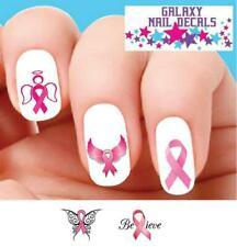 Waterslide Nail Decals - Set of 20 Pink Breast Cancer Awareness Ribbon Assorted