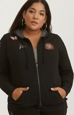 4b592cc06c9 Torrid Hoodie Black Patches Zip Up Torrid Size 1 NWT