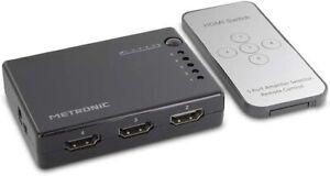 SWITCH HDMI 5 PORTE 1080p 4K TV PRESA MULTIPLA SDOPPIATORE ADATTATORE METRONIC