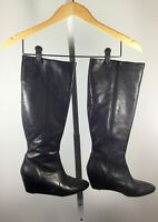 CYNTHIA VINCENT Black Leather Knee High Wedge Boot Size 7